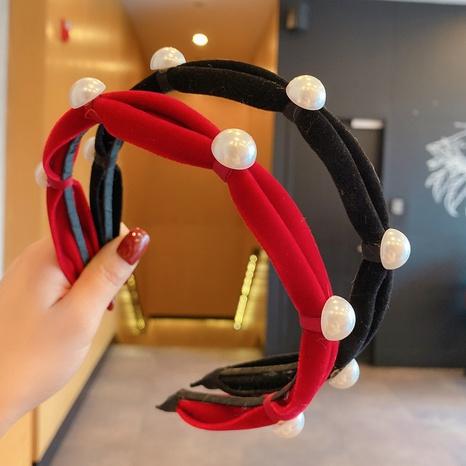 Korea new cute wild pearl flannel headband  NHCQ302269's discount tags