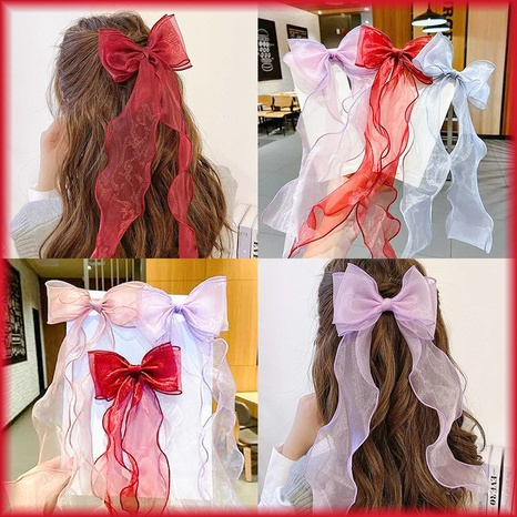 Red bow long streamer hairpin  NHCQ302270's discount tags