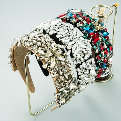 New Baroque Retro Exaggerated Stained Glass Diamond Fabric Headband  NHLN302300's discount tags
