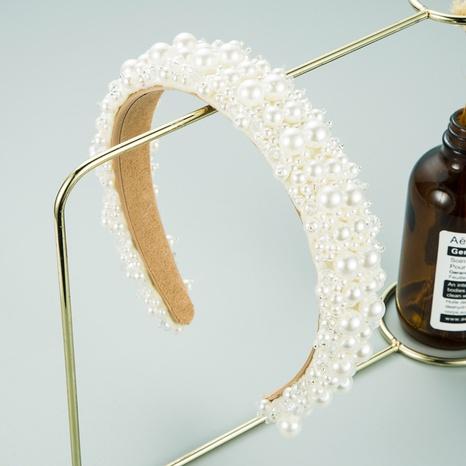white pearl crystal beaded headband  NHLN302302's discount tags