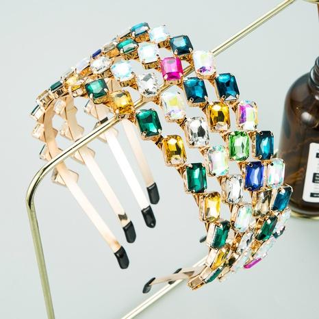 fashion simple square colored glass diamond headband  NHLN302303's discount tags