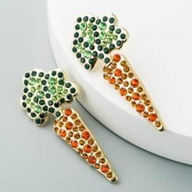 fashion creative carrot inlaid colored diamond long earrings NHLN302306
