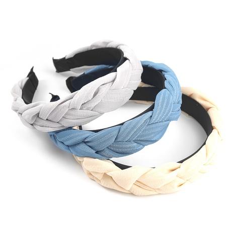 Fashion pure color chiffon yarn fabric twist braid headband  NHJE302328's discount tags