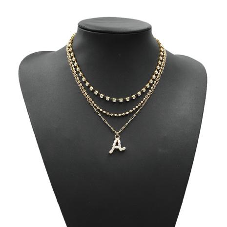 Englisch Brief eingelegt Strass Perle Mode Halskette NHJQ302343's discount tags