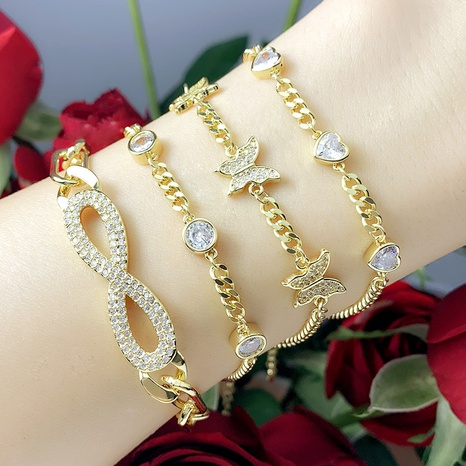 heart butterfly inlaid zircon bracelet  NHAS302345's discount tags