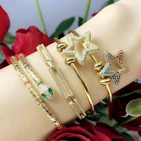 hip-hop snake-shaped inlaid zircon bracelet NHAS302346's discount tags