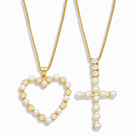 retro diamond cross heart necklace  NHAS302348's discount tags