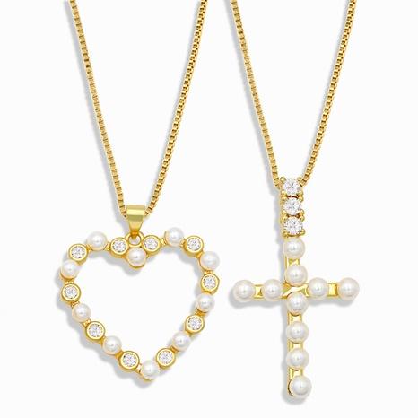 collar retro con cruz de diamantes y corazón NHAS302348's discount tags