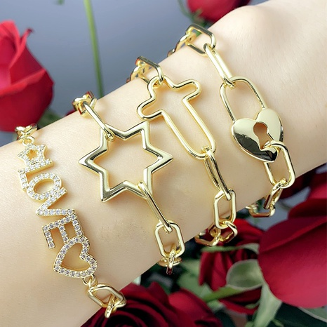 diamond letter five-pointed star bracelet NHAS302350's discount tags