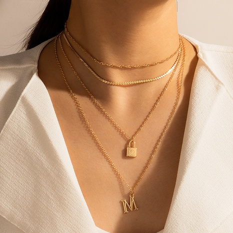 fashion lock-shaped letter M pendant necklace NHGY302374's discount tags