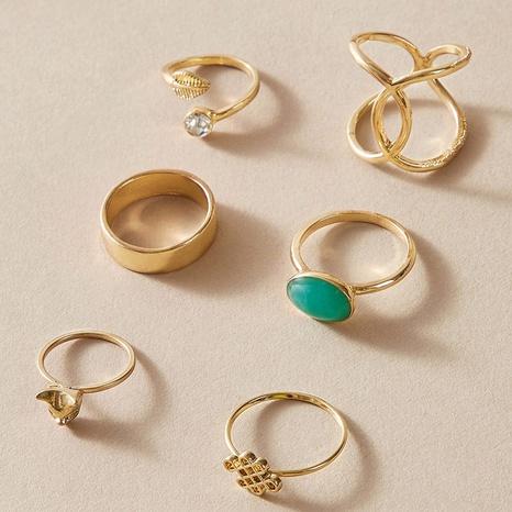 retro green diamond cat leaf adjustable rings set NHGY302377's discount tags