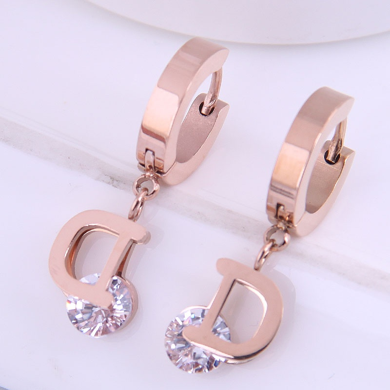 Korean Fashion Concise Titanium Steel DZircon Earrings NHSC303286
