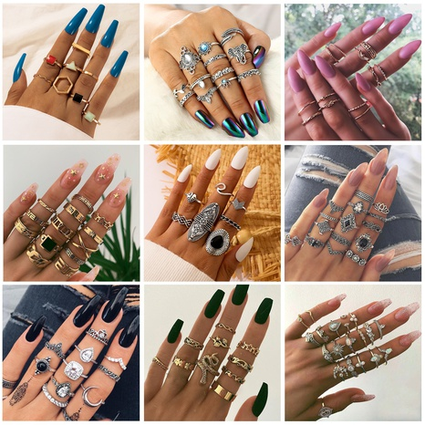 water drop geometric rings set NHGY302385's discount tags