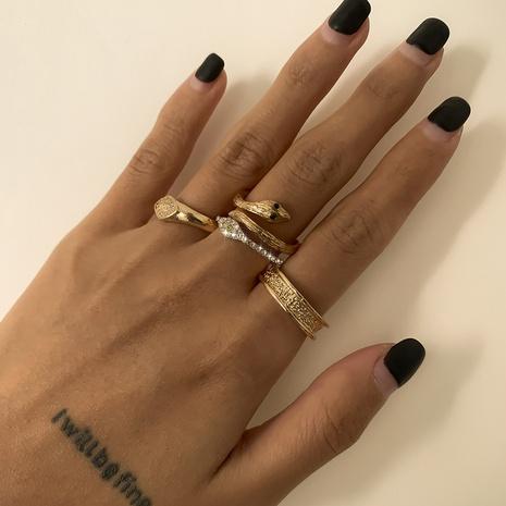 diamond eye snake-shaped rings 4-piece set  NHXR302391's discount tags