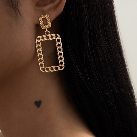retro alloy square chain earrings NHXR302392's discount tags