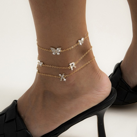 tassel letter diamond butterfly anklet NHXR302398's discount tags