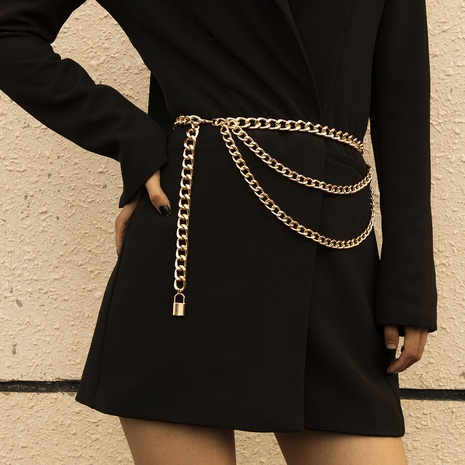 simple punk style aluminum chain lock waist chain NHXR302403's discount tags
