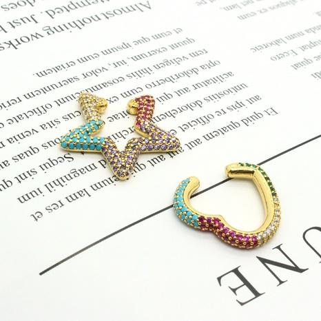 micro diamond-studded five-pointed star heart zircon earrings NHGO302418's discount tags