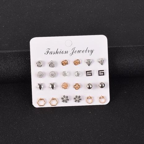 einfache Legierung kleine Ohrringe 12 Paar gesetzt NHSD302462's discount tags