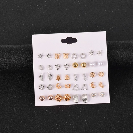 Einfache Legierung Strass Ohrringe 20 Paar Set NHSD302466's discount tags