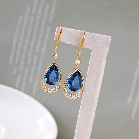blue drop tassels retro earrings NHQD302485's discount tags