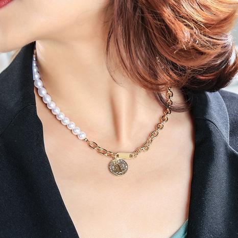 einfache Perlenbuchstabe Anhänger Halskette NHQD302487's discount tags