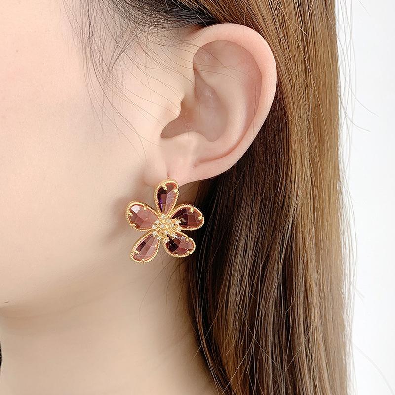 Nouvelles boucles d39oreilles tendance incrustes de fleurs NHQD302499