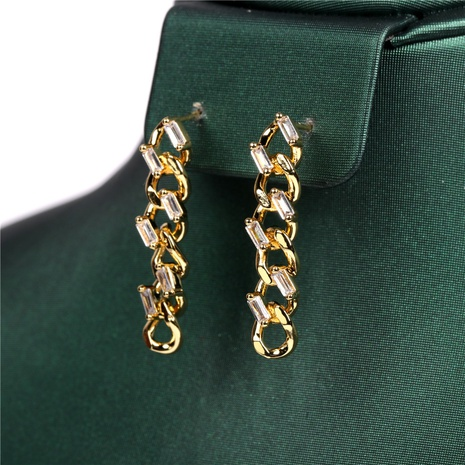 new Cuban chain inlaid zircon earrings NHPY302627's discount tags