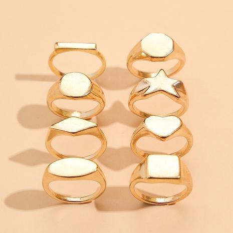 Ensemble de 8 bagues en or avec diamants carrés et étoile à la mode NHPV302630's discount tags