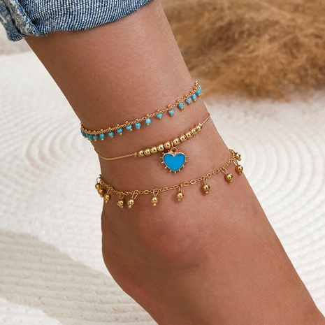 Bohemian gold beaded blue heart pendant anklet 3-piece set NHPV302635's discount tags