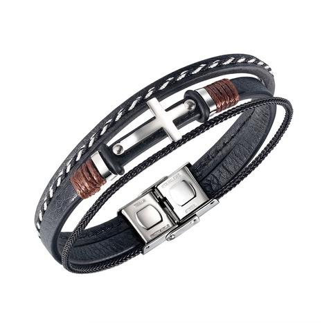 Mode Edelstahl Kreuz gewebtes Lederarmband NHOP302656's discount tags