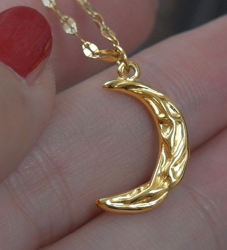 Tin Foil Crescent Moon Necklace NHAB302700's discount tags