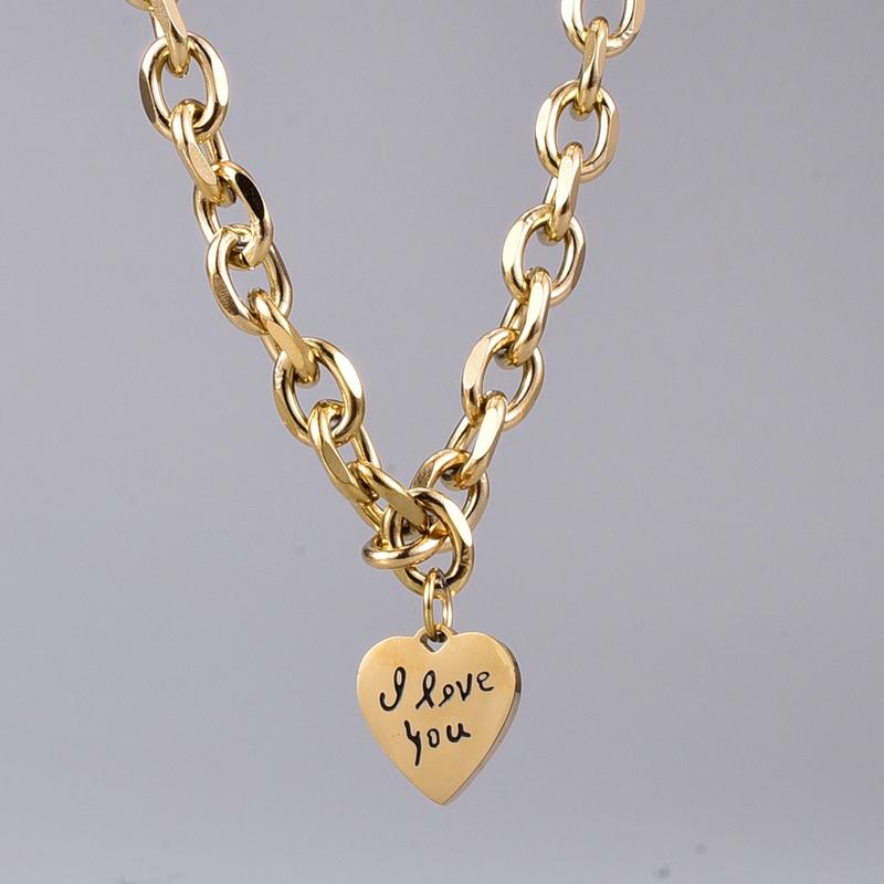 retro letter heart titanium steel necklace NHAB302707