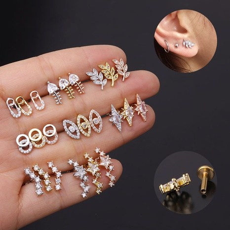 micro-inlaid zircon piercing earrings NHEN302693's discount tags
