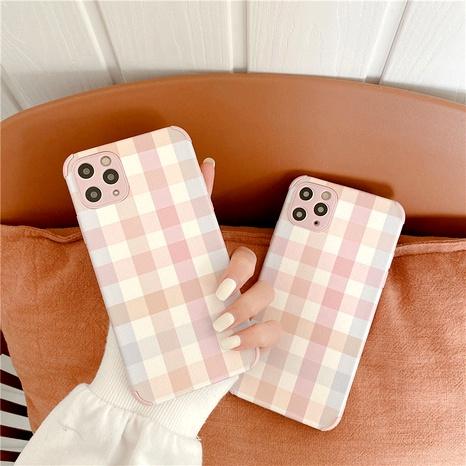 Étui de téléphone portable en treillis rose clair 12mini 11Pro pour coque souple en soie iPhone8plus SE2 XR X NHFI291156's discount tags