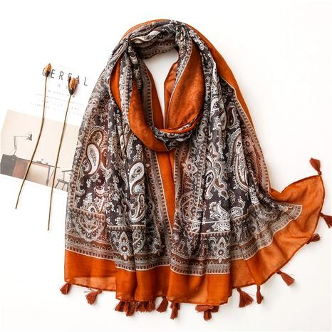 retro ethnic classic cashew flower Bali yarn cotton  linen feel silk scarf  NHGD291236's discount tags