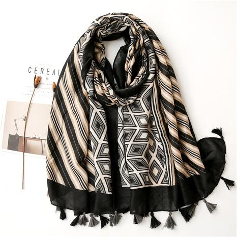 cotton korean  wild stitching geometric black long scarf NHGD291238's discount tags
