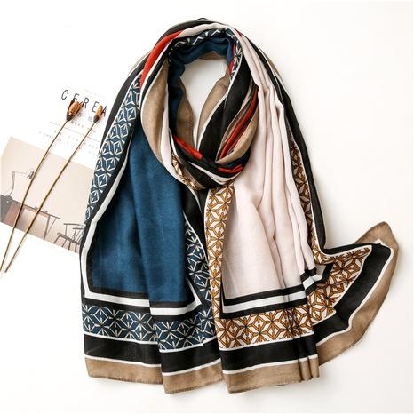 nouvelle écharpe en soie châle de voyage à contraste géométrique coréen NHGD291242's discount tags