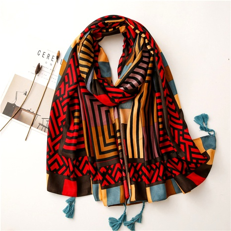 cute starry geometric cartoon cotton and linen oversized scarf NHGD291253's discount tags