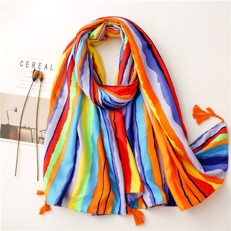 Gradient cotton linen rainbow silk scarf  NHGD291255's discount tags