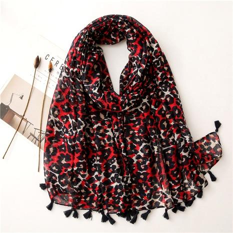 Longue écharpe en soie à imprimé léopard rouge Western All-Match NHGD291257's discount tags