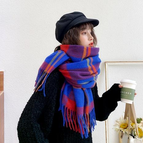 Nueva bufanda gruesa del mantón de las señoras de la cachemira de imitación cálida de la tela escocesa de la borla coreana NHCM291263's discount tags