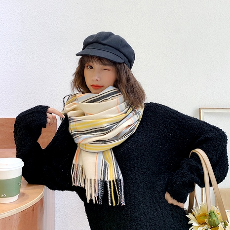 Plaid  British korean  striped double-sided cashmere shawl scarf NHCM291267's discount tags