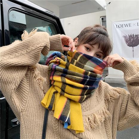 Korean  wild short beard plaid fashion scarf  NHCM291268's discount tags