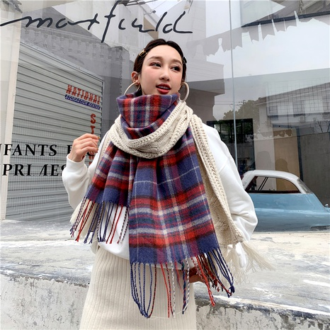 Korean  thickened long big tassel  imitation cashmere knitted scarf NHCM291276's discount tags