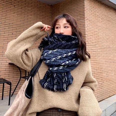 Korean  wild knit woolen stripe long thick warm shawl scarf NHCM291280's discount tags