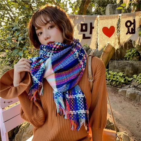 nueva bufanda de cachemir a cuadros tejida con arcoíris NHCM291283's discount tags