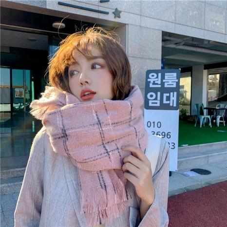 Bufanda cálida larga con borla de cachemira de imitación a cuadros NHCM291284's discount tags