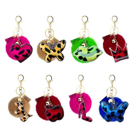 Nuevo llavero de bola de pelusa coreana con estampado de leopardo tachonado de diamantes NHAP291341's discount tags