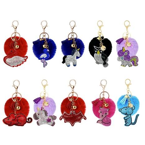 creative  rhinestone flannelette fur ball keychain  NHAP291342's discount tags